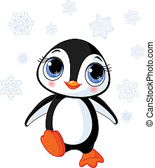 sprytny, zima, pingwin
