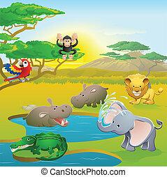 sprytny, zwierzę, scena, safari, afrykanin, rysunek