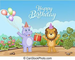 sprytny, zwierzęta, urodziny, projektować, karta, szczęśliwy