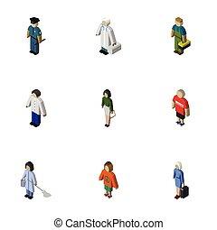 sprzątaczka, dama, isometric, komplet, elements., również, policjant, zawiera, technik, wektor, pokojówka, ludzki, objects., inny, oficer