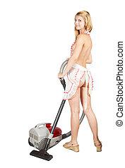 sprzątaczka, dziewczyna, próżnia, sexy
