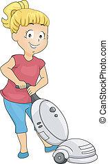 sprzątaczka, mała dziewczyna, próżnia