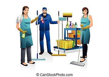 sprzątaczka, odźwierny, wóz, ludzie