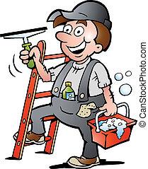sprzątaczka, okno, ilustracja