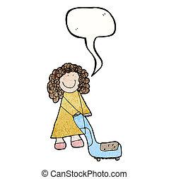 sprzątaczka, próżnia, kobieta, rysunek, dziecięcy