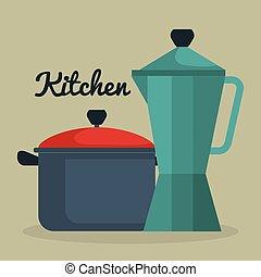 sprzęt, garnek, czajnik, ikona, kuchnia