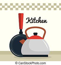 sprzęt, ikona, imbryk, rondel, kuchnia