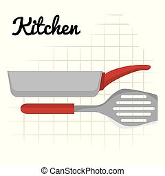 sprzęt, ikona, spatule, rondel, kuchnia