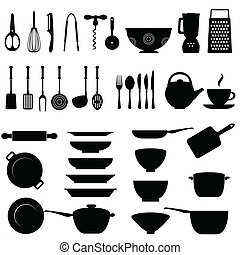 sprzęt, komplet, kuchnia, ikona