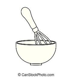 sprzęt, kuchnia, puchar, wyroby cukiernicze, miotełka