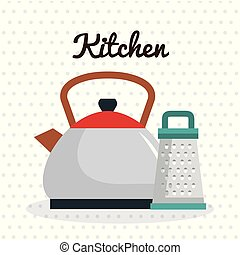 sprzęt, tarka, imbryk, ikona, kuchnia