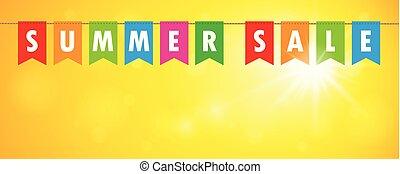 sprzedaż, chorągiew, żółte tło, bandery, słoneczny, lato