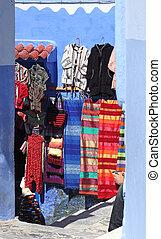 sprzedaż, marokańczyk, tradycyjny, safian, medyna, chefchaouen, odzież