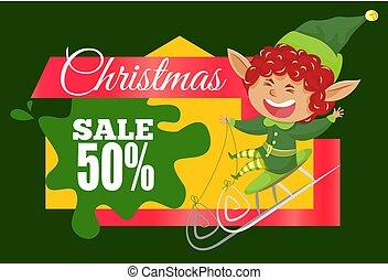 sprzedaż, od, redukcja, 50, procent, boże narodzenie, ...