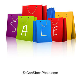 sprzedaż, zakupy, bags., pojęcie, od, discount., wektor, ilustracja
