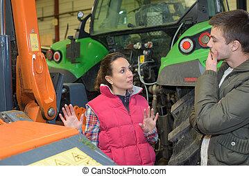 sprzedajcie, fuks, gatunek, kobieta, pociągający, rolnik, nowy, traktor
