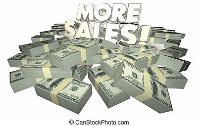 sprzedajcie, powodzenie, pieniądze, zbyt, ilustracja, słówko, więcej, 3d
