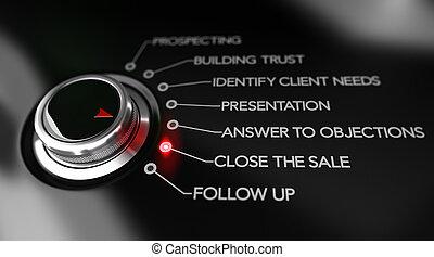 sprzedajcie, proces, zbyt, ilustracja, punkty, klucz
