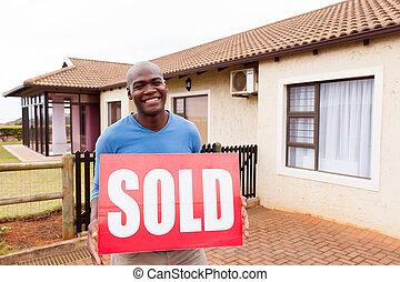 sprzedany, afrykanin, młody, znak, outdoors, człowiek