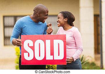 sprzedany, podniecony, czarnoskóry, dzierżawa, znak, para