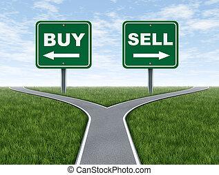 sprzedawać, decyzja, kupować, dylemat, crossroads