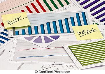 sprzedawać, kupować, albo, wykresy
