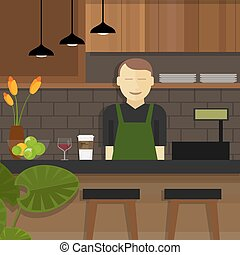 sprzedawca, kasjer, za, właściciel, kawiarnia, kelnerka