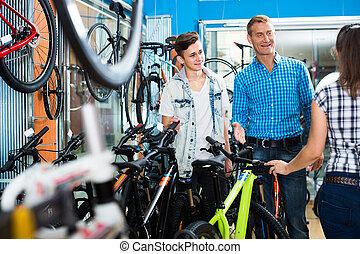sprzedawca, rower, store., syn, samica, ojciec