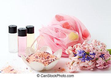 spugna, olii, sale, essenziale, bagno