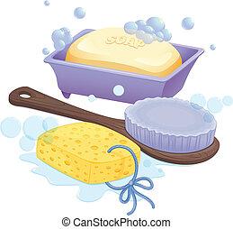 spugna, spazzola, sapone