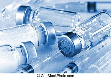 spuit, en, steriel, vial.