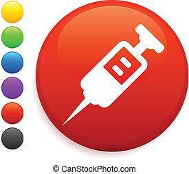 spuit, knoop, pictogram, ronde, internet