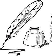 spule- feder, und, tintenfaß, skizze