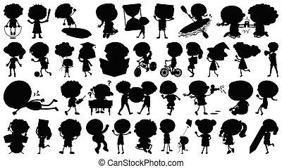 spullen, anders, set, silhouette, kinderen