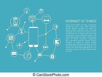 spullen, concept, (iot), internet
