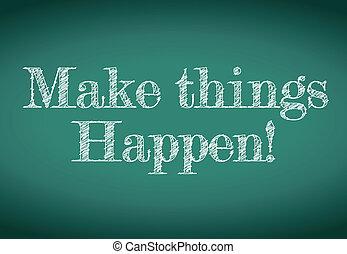 spullen, maken, boodschap, happen