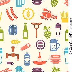 spuntini, birre, seamless, struttura, icone