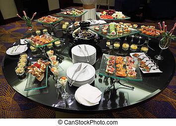 spuntini, tableware, lusso, tavola, festa, freddo, stand-up