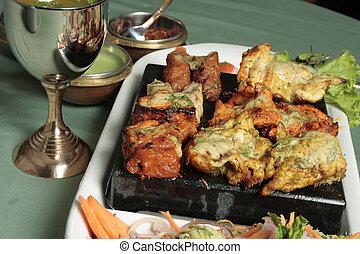 spuntino, carne, kebab, -, mescolato, cotto ferri