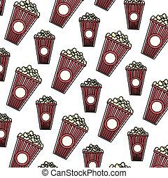 spuntino, delizioso, colorare, sfondo cibo, popcorn