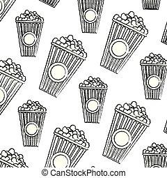 spuntino, grunge, delizioso, sfondo cibo, popcorn