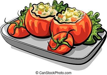 spuntino, pomodori, uffed