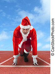 spur, claus, rennender , santa, position, beginnen
