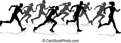 spur, feld, silhouetten, rennen, läufer