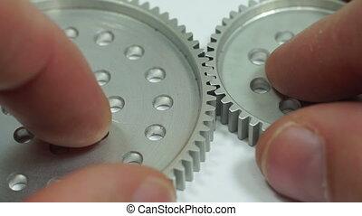 Spur Gear Hub Meshing Macro - Close up shot of an anonymous...