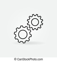 Spur Gears outline icon. Settings vector concept symbol - ...