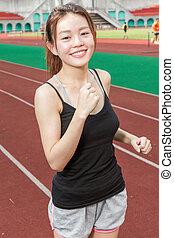 spur, jogging, frau, chinesisches , sport