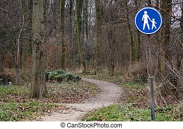 spur, park, zeichen