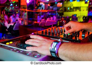 spur, party, mischt, dj, nachtclub