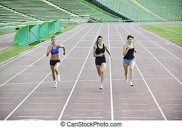 spur, rennender , rennen, mädels, athletik